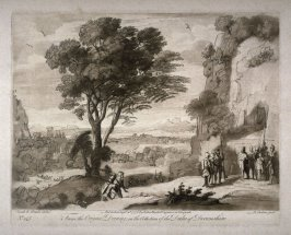 No.145: Landscape with David at the Cave of Adullam, the 45th plate from vol.II of Earlom's Liber Veritatis (1777)