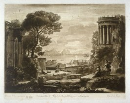 No.164: Coast Scene with Apollo and the Cumaean Sibyl, the 64th plate in vol.II of Earlom's Liber Veritatis (1777)