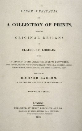 Title page to Volume 3 of Earlom's Liber Veritatis (1819)