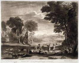 Landscape with Dancing Figures (The Marriage of Isaac and Rebecca, or The Mill), plate 113 from vol.I of Earlom's Liber Veritatis (1777)