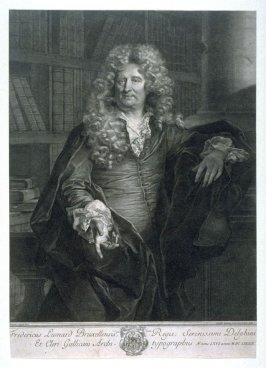 Portrait of Fredericus Leonard de Brussels in his library at the age of 66
