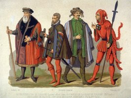 Official costumes of burgomaster of Cologne, 1572; executioner, 16th century; messenger, 16th century; judicial messenger, late 15th cent.