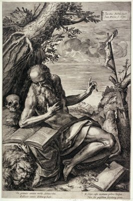St. Jerome Reading, sitting at the trunk of a tree