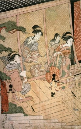 Return of Prince Genji from a Shinto Shrine, part 1 of a pentaptych