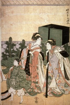 Return of Prince Genji from a Shinto Shrine, part 3 of a pentaptych