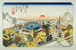 Nihonbashi, pl. 1 from a facsimile edition of Sixty-nine Stations of the Kiso Highway (Kisokaido rokujukyu tsui)
