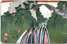 Distant View of the Bridge over the Inakawa River near Nojiri, Station 41 on the Kisokaido ( Nojiri inakawa hashi enkei), from the series Sixty-nine Stations of the Kisokaido (Kisoji no eki)Keiko Keyes recommended light restriction: Yes