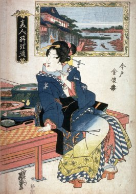 The Kimparo Restaurant at Imado (Imado kimparo) from the series Beautiful Women Restaurant Connoisseur (Bijin ryori tsu)