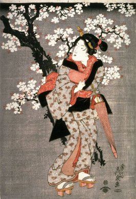 Three Geisha Standing Beneath Flowering Cherry Trees