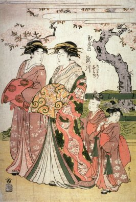 The Courtesan Takigawa of the Tamaya with Attendants ( a Shinzo and Her Two Kamuro, Chidori and Namiji) (Tamaya no uchi Takigawa, Chidori, Namiji)