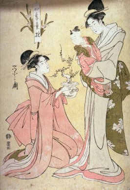 Kneeling Woman Showing a Miniature Plum Tree to a Child in its Mother's Artms, from the series Children's Pastimes in the Four Seasons (Shiki warabe asobi)