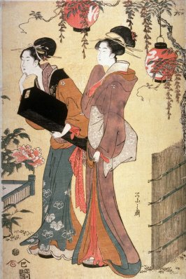 Two Geisha in a Garden, right panel of a triptych