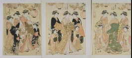 Courtesans Hanaogi of the Ogiya Attended by Yoshino and Tatsuta, Senzan of the Chojiya Attended by Yasoji and Isoji, Segawa of the Matsubaya attended by Takeno and Sasano (Ogiya no uchi Hanaogi, Yoshino, Tatsuta; Chojiya no uchi Senzan, Yasoji, Isoji; Mat