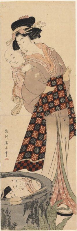 Mother Carrying Her Baby Son on Her Back by a Cistern