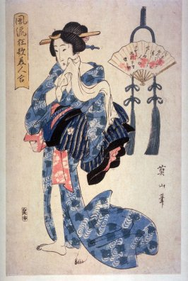 [Figure holding cloth to face, with a fan to the right]