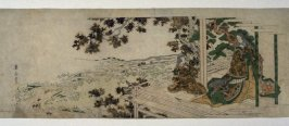 Court Lady and Child Viewing Maple Leaves from a Veranda