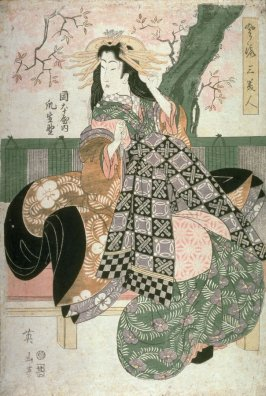 The Courtesan Tsumeikuno (?) of the Okamotoya (Okamotoya uchi Tsumeikuno?), from the series three elegant Beauties (Furyu san bijin)