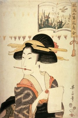 Woman Writing a Letter, third image from the series Elegant Pictures with Birds and Flowers for the Five Seasons( Furyu gosetsu kacho awase)