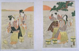 Four Women on a Beach at Dawn Gathering Pails of Brine