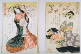 Standing and Seated Courtesans , two panels of the triptych, Three Beautiful Young Women with Classical Verse (Bijin waka sannin)
