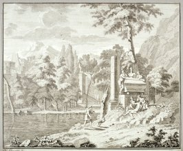Landscape with river and people in foreground