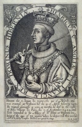 Portrait of Henry V, illustration from 'Baziliologia, a Booke of Kings' (1618)