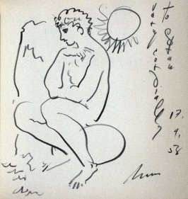 Untitled (male figure study), on front free endpaper in the book, Conquête du temps (La Chaux-de-Fonds, Switzerland: La Chambre Suisse de l'Horlogerie, 1958)