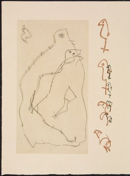 Untitled, pg. 3 (left-hand side), in the book Maximiliana ou l'exercice illégal de l'astronomie: L'Art de voir de Guillaume Temple by Max Ernst (Paris: Iliazd, 1964).