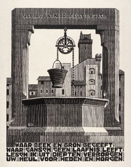 Waterput (Well), pl. XXI from the book, XXIV Emblemata, epigrams by A.E. Drijfhout, woodcuts by M.C. Escher (Bussum: C.A. J. van Dishoeck, 1932)