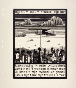 Windvaan (Weather Vane), pl. VII from the book, XXIV Emblemata, epigrams by A.E. Drijfhout, woodcuts by M.C. Escher (Bussum: C.A. J. van Dishoeck, 1932)