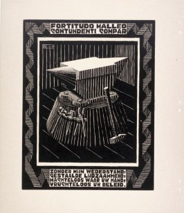 Aanbeed (Anvil), pl. II from the book, XXIV Emblemata, epigrams by A.E. Drijfhout, woodcuts by M.C. Escher (Bussum: C.A. J. van Dishoeck, 1932)
