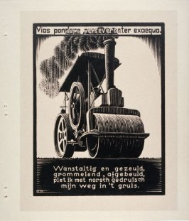 Stoomwals (Steamroller), pl. IX from the book, XXIV Emblemata, epigrams by A.E. Drijfhout, woodcuts by M.C. Escher (Bussum: C.A. J. van Dishoeck, 1932)