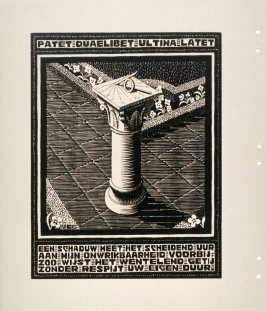 Zonnewijzer (Sundial), pl. VIII from the book, XXIV Emblemata, epigrams by A.E. Drijfhout, woodcuts by M.C. Escher (Bussum: C.A. J. van Dishoeck, 1932)