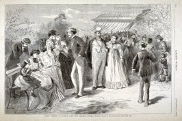 Sunday Morning in Central Park - Jews Drinking Mineral Water - from Harper's Weekly, (September 14,1872), p. 720