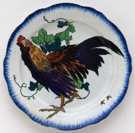 Dinner plate with rooster from the first 'Rousseau' Service