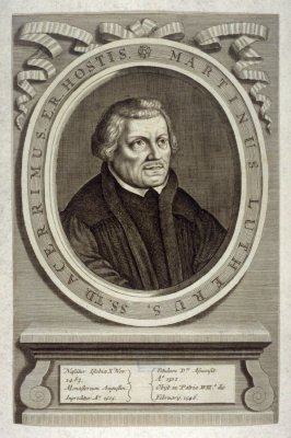 Portrait of Martin Luther, illustration to Johann Sleidan, 'The General History of the Reformation of the Church' (London, 1689)