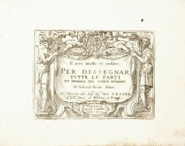 Titlepiece from In vero modo et ordine per dissegnar tutte le parti et membra del corpo humano (Venice: Bassano, [printed after 1709]): Cartouche with Two Genii Supporting the Coat of Arms of Cesare d'Este, Duke of Modena