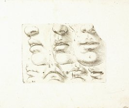 Three Nose, Mouth and Chin Sketches, Four Mouth Sketches , Plate 9 from In vero modo et ordine per dissegnar tutte le parti et membra del corpo humano (Venice: Bassano, [printed after 1709])