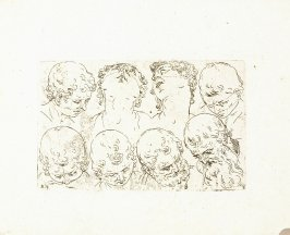 Eight Heads of Men and Women, Plate 12 from In vero modo et ordine per dissegnar tutte le parti et membra del corpo humano (Venice: Bassano, [printed after 1709])