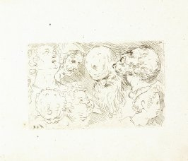 Four Heads of Women, Children, Old Men, Plate 15 from In vero modo et ordine per dissegnar tutte le parti et membra del corpo humano (Venice: Bassano, [printed after 1709])