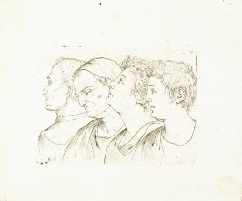 Four Male Busts in Profile, Plate 16 from In vero modo et ordine per dissegnar tutte le parti et membra del corpo humano (Venice: Bassano, [printed after 1709])