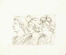 Three Male Busts in Profile, Plate 17 from In vero modo et ordine per dissegnar tutte le parti et membra del corpo humano (Venice: Bassano, [printed after 1709])