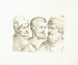 Three Busts of Men in Three-Quarter View, Plate 20 from In vero modo et ordine per dissegnar tutte le parti et membra del corpo humano (Venice: Bassano, [printed after 1709])