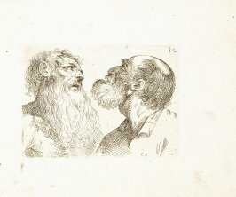 Two Busts of Old Men in Partial Profile, Plate 21 from In vero modo et ordine per dissegnar tutte le parti et membra del corpo humano (Venice: Bassano, [printed after 1709])