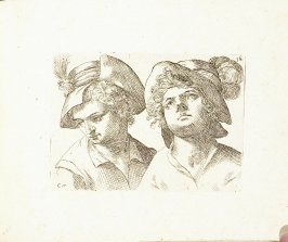 Two Busts of Young Men Wearing Caps, Plate 25 from In vero modo et ordine per dissegnar tutte le parti et membra del corpo humano (Venice: Bassano, [printed after 1709])