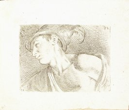 Bust of a Young Man with Plumed Cap, Plate 26 from In vero modo et ordine per dissegnar tutte le parti et membra del corpo humano (Venice: Bassano, [printed after 1709])