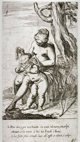 Venus Seated, Blindfolding Amor, pl. 11 from the series Scherzi d'Amore (The Sport of Love)