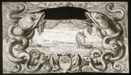 Cartouche with a View of Fishing Boards on the Sea, The Title page from Salt Water Fish, Part II