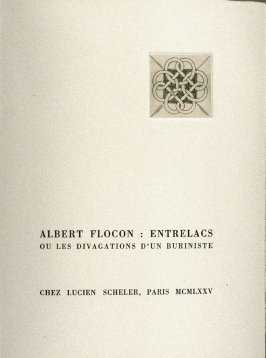 Untitled, on the title page of the book Entrelacs ou Les Divagations d'un Buriniste by Albert Flocon (Paris: Chez Lucien Scheler, 1975)