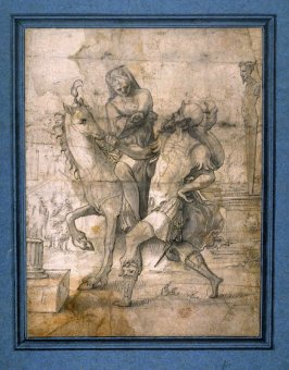 Allegory of Roman leading woman on horseback